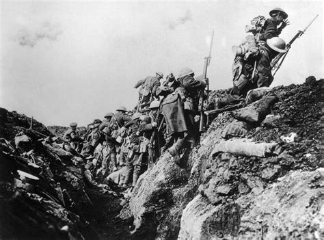canadian soldiers going into from trench