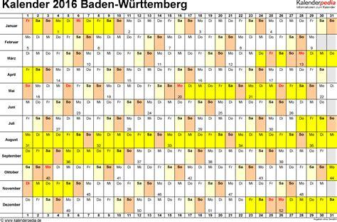 kalender baden wuerttemberg ferien feiertage excel vorlagen