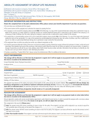 Voya financial issues life insurance products under reliastar life insurance company. Fillable Online ABSOLUTE ASSIGNMENT OF GROUP LIFE ...