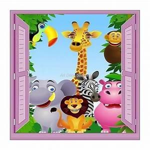 Stickers Animaux De La Jungle : sticker enfant fen tre trompe l 39 oeil animaux de la jungle 903 stickers muraux enfant ~ Mglfilm.com Idées de Décoration
