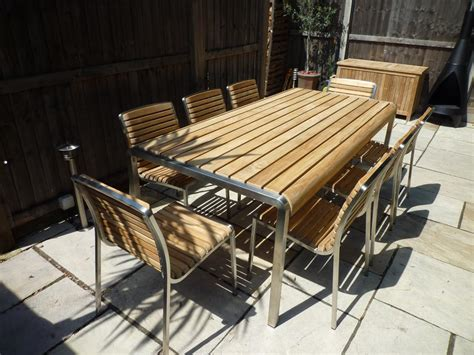 8 seater teak stainless steel outdoor set the santa