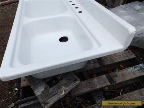vintage steel white porcelain double basin deep shallow