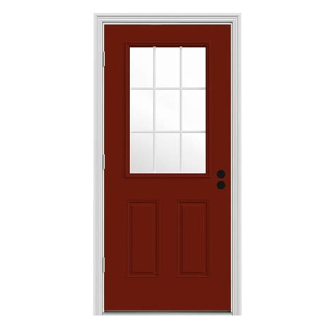 Outswing Interior Door by Jeld Wen 36 In X 80 In 9 Lite Mesa Painted W White