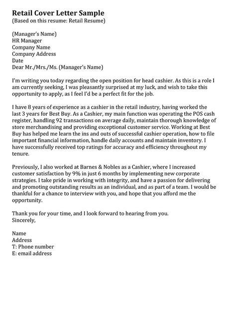 retail cover letter sample resume pinterest sample