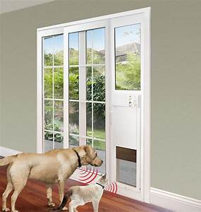 Power pet electronic pet door for sliding glass patio doors for Door with dog door in it