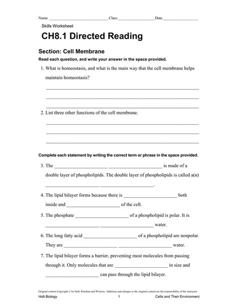 Holt Biology Worksheets Answers Directed Reading  Worksheet Example