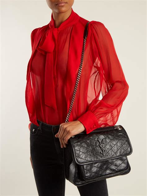 lyst saint laurent niki medium quilted leather bag  black