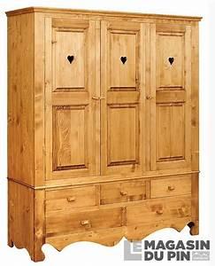 Armoire Pin Massif : armoire en pin massif 3 portes 3 tiroirs chamonix le ~ Dode.kayakingforconservation.com Idées de Décoration