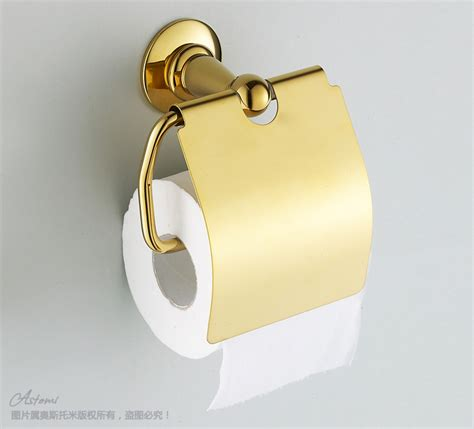 gold plated toilet paper box paper towel holder bathroom