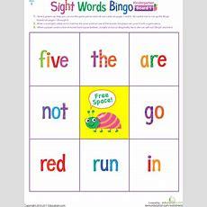 Kindergarten Sight Words Bingo  Worksheet Educationcom