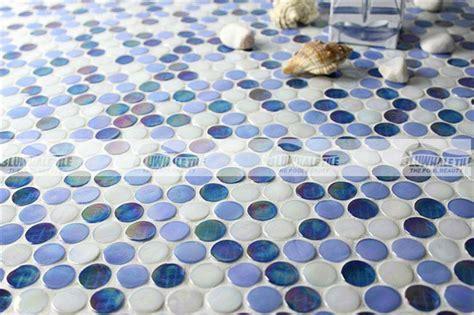Rainbow Penny Round Iridescent Blue BGZ007, Mosaic tile