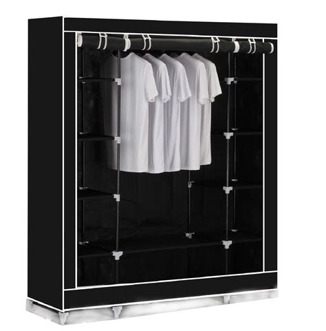 Triple Canvas Clothes Wardrobe Cupboard Hanging Rail With