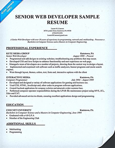 Web Resume Template by Web Developer Resume Is Needed When Someone Want To Apply