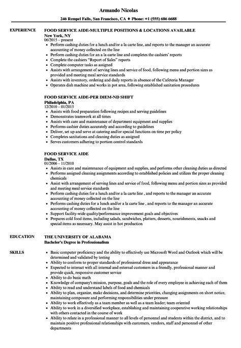 Resume Preparation Service by Food Service Aide Resume Sles Velvet