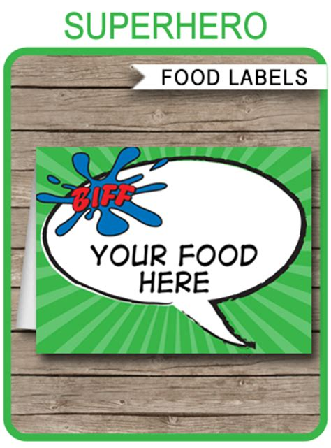 superhero theme food labels place cards party decorations