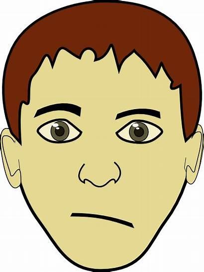 Clipart Serious Boy Hair Brown Cliparts Clip