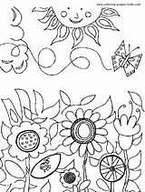 Coloring Flower Garden Colorir Jardim Pintar Imagens Printable Blumen Ausmalbilder Florido Kleurplaten Colorear Jardin Jardines Encantado Landscapes Desenho Konabeun Lente sketch template