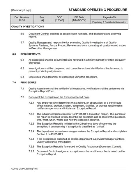 Quality Investigations Sop Template Ph35