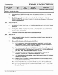 quality investigations sop template ph35 gmp qsr iso comp With quality control procedure template