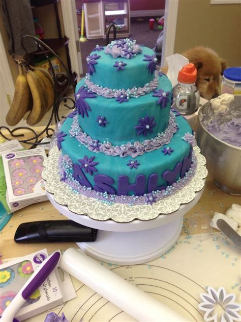 lavender pin dot my anywhere 3 tier teal with purple flowers fondant polka dot inside