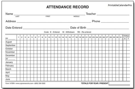 attendance printable calendar template attendance sheet