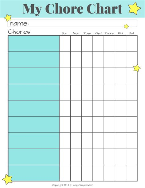 chore chart  kids template   printable daily