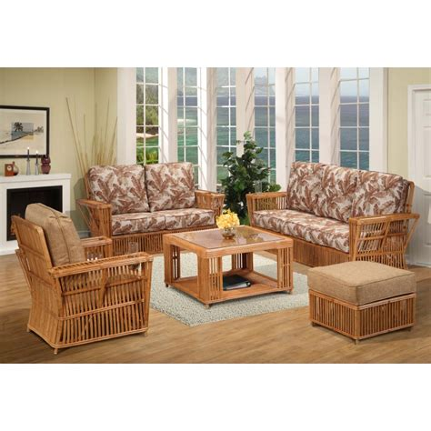 President Rattan 5 Piece Rattan Living Room Set (honey