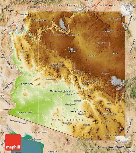 Physical Map Of Arizona Satellite Outside