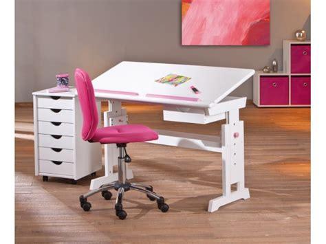 bureau relevable bureau pour enfant design blanc et bleu avec plateau