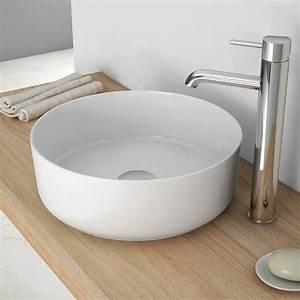 vasque a poser ronde 35 cm ceramique fine extra With salle de bain design avec vasque a poser ronde blanche