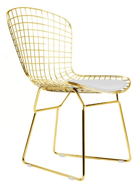 bertoia wire side chair  gold finish home  office