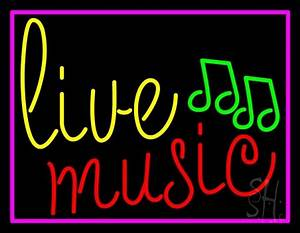 Blue Live Music Cursive With Border Neon Sign