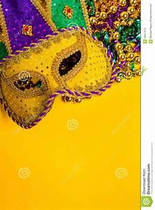 Mardi Gras Mask On Yellow Background Stock Photo - Image ...