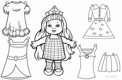 Doll Paper Coloring Printable Pages Dolls Clothes