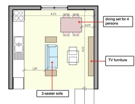 arrange furniture   small open plan kitchen