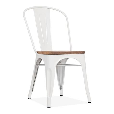 chaise industrielle metal white side chair with elm wood seat cult furniture