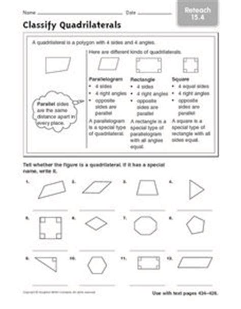 classify quadrilaterals reteach 15 4 3rd 4th grade worksheet lesson planet