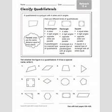 Classify Quadrilaterals Reteach 154 3rd  4th Grade Worksheet  Lesson Planet