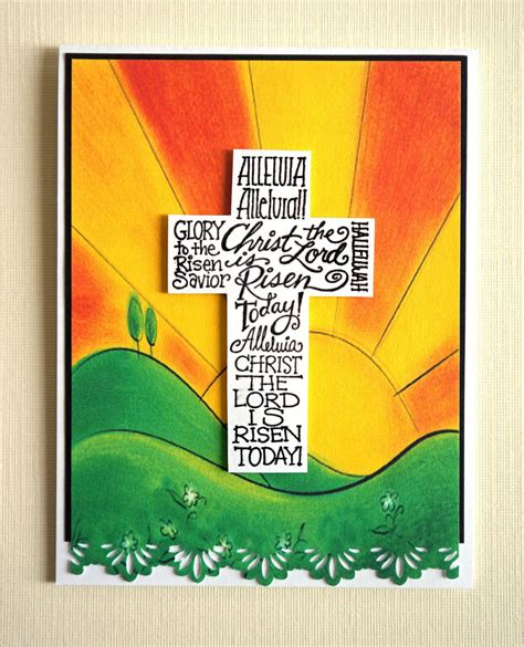 religious easter card templates handmade easter card is risen religious scr 01