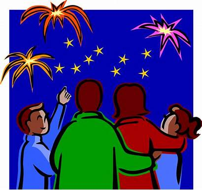 Clip Fireworks Clipart Watching Happy Animated Firework