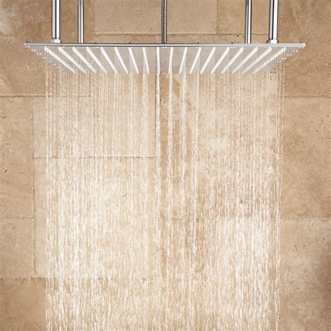 oversized square stainless steel shower head bathroom