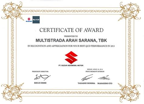 Suzuki Certification by Pt Masa Received The Best Qcd Performance Certificate From