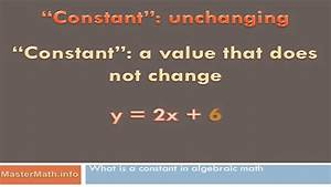 What Is a Constant in Algebraic Math? - YouTube