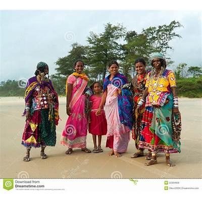 Indian Women In Traditional Sari. Goa Editorial Stock