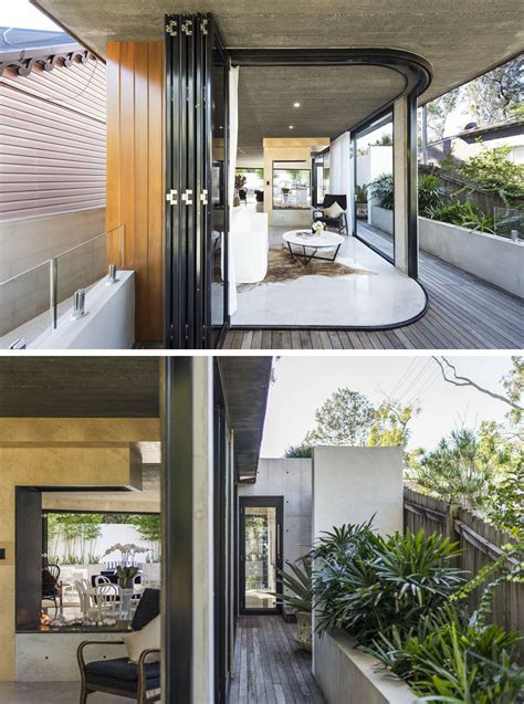 curved wood  concrete exterior greets visitors