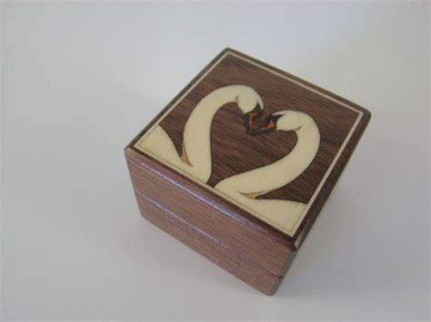 buy a custom inlaid white swans engagement ring box with free engraving and shipping rb35 made