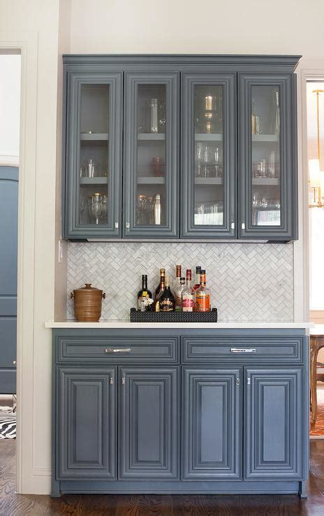 grey kitchen cabinets with backsplash butler pantry with marble chevron backsplash
