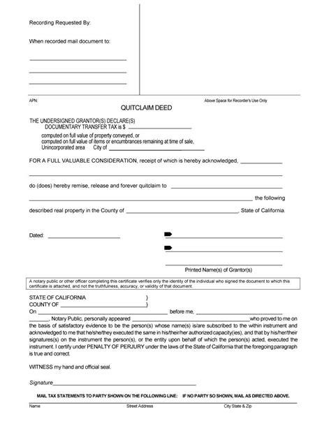 quick deed form free printable quit claim deed pdf staruptalent