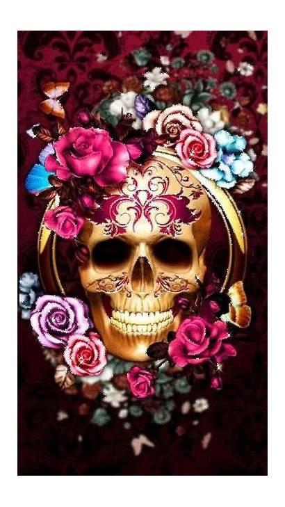 Skull Wallpapers Flower Sugar Caveira Skulls Painting