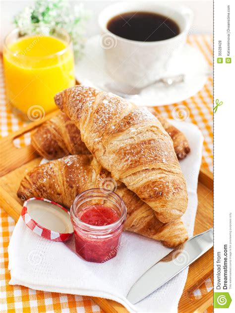 Breakfast With Croissants, Cup Of Coffee And Orange Juice Royalty Free Stock Photos   Image